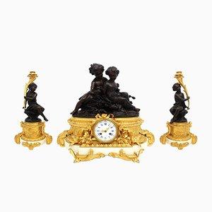 Horloge Antique en Bronze et Marbre avec 2 Bougeoirs, France