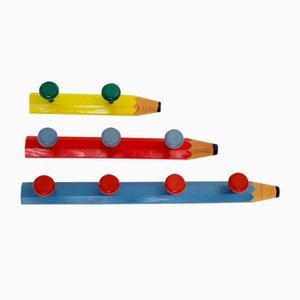 Percheros en forma de lápices de pícea de Pierre Sala, años 80. Juego de 3