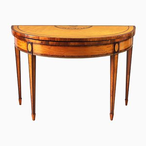 George III Satinwood Inlaid Demi-Lune Card Table, 1790s