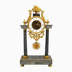 Antique French Gilded Bronze and Marble Pendulum Clock, 1790s