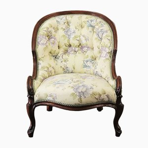Antique Victorian Walnut Button-Back Bergere Chair