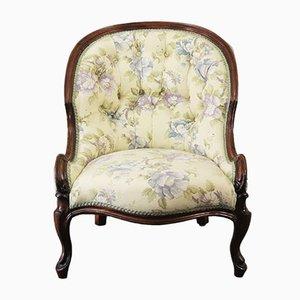 Chaise Bergère Victorienne Antique en Noyer