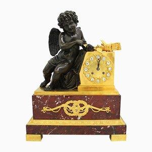 Antike französische Empire Pendeluhr aus vergoldeter Bronze & Marmor