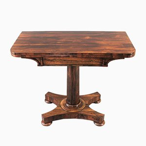 Antique William IV Rosewood Veneer Fold-Over Pedestal Tea Table by J Kendell & Co