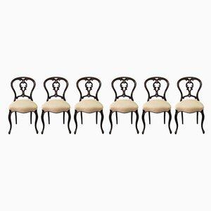 Chaises de Salle à Manger Antiques en Palissandre, Set de 6