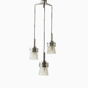 Deckenlampe aus Glas & verchromtem Metall von Raak, 1970er