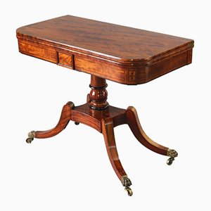 Antique Georgian Figured Mahogany & Rosewood Crossbanded Fold-Over Card Table