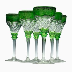 Cut and Engraved Green Wine Glasses by John Walsh, 1930s, Set of 6