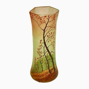 Französische Vintage Kristallvase mit Landschaftsmotiv, 1920er