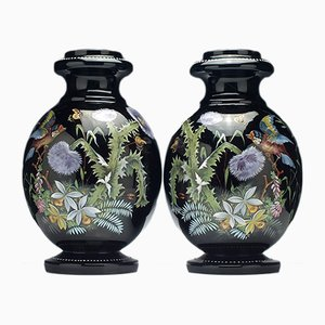 Large 19th Century Enamelled Black Glass Vases, 1890s, Set of 2