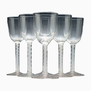 Bicchieri da vino antichi in vetro opalino, set di 6