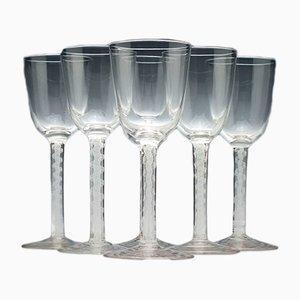 Verres à Vin Antiques en Verre Opalin, Set de 6