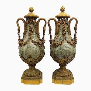 Cassolettes Napoléon III en Bronze Doré et Marbre, France, 19ème Siècle, Set de 2