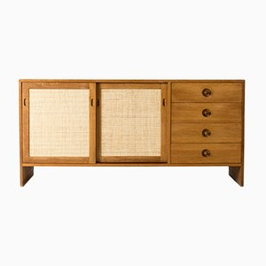 Danish Oak and Rattan Sideboard by Hans J. Wegner for Ry Møbler, 1960s