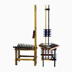 Handgefertigte skulpturelle Stühle aus Holz von Anacleto Spazzapan, 1990er, 2er Set
