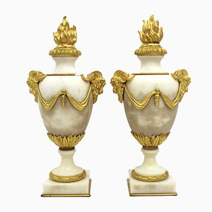 Antique Napoleon III French Gilt Bronze and Marble Cassolettes, Set of 2