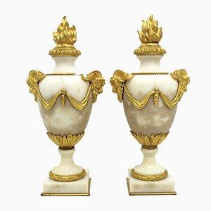 Cassolettes Napoléon III Antiques en Bronze Doré et Marbre, France, Set de 2