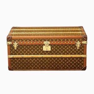 Französischer Koffer aus Buche, Messing & Leder von Louis Vuitton, 1920er