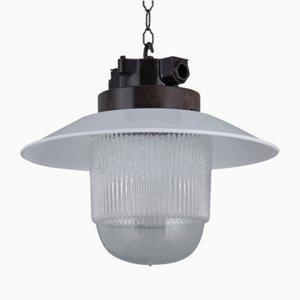 Industrielle Deckenlampe aus Bakelit & Glas, 1960er