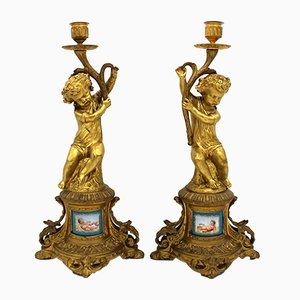 Antique Napoleon III French Gilt Bronze and Painted Porcelain Candleholders, Set of 2