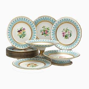Service à Dessert Antique en Émail et Porcelaine de Minton