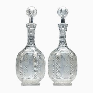 Victorian Cut & Engraved Decanters, 1870s, Set of 2