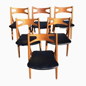 Vintage Danish Leather and Oak CH29 Sawbuck Dining Chairs by Hans J. Wegner for Carl Hansen & Søn, 1960s, Set of 6