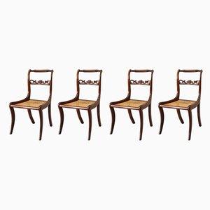 Chaises de Salle à Manger Regency Antiques en Acajou avec Dossiers en Rotin, 1810s, Set de 4
