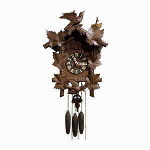 Antique German Wooden Clock by Hubert Herr