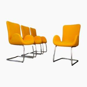 Italienische Mid-Century Sessel mit Bezug aus Baumwolle & Stahlgestell von Moroso, 1970er, 4er Set