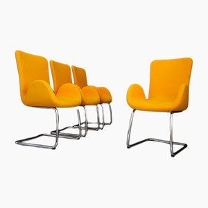 Mid-Century Italian Cotton and Steel Lounge Chairs from Moroso, 1970s, Set of 4