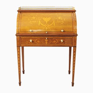 Antique French Mahogany and Satinwood Inlaid Marquetry Desk