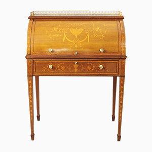 Escritorio francés antiguo de marquetería con incrustaciones de madera satinada y caoba