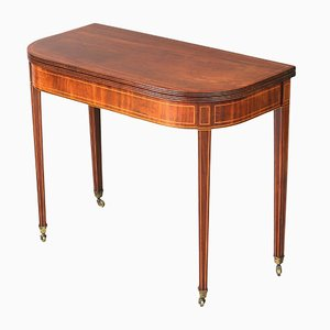 Antique Georgian Inlaid Mahogany Fold-Over Tea Table, 1810s