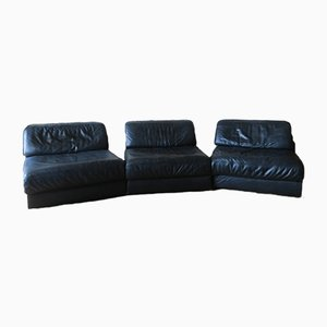 Model D76 Modular 3-Part Leather Sofa from de Sede, 1970s