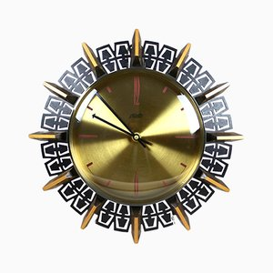 Vintage German Brass, Glass, and Wood Electric Wall Clock from Atlanta, 1990s