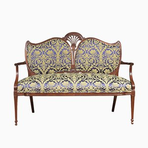 Antique Fabric and Mahogany 2-Seater Sofa