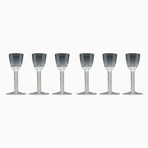 Antique Opaline Twist Glasses, Set of 6
