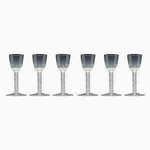Antique Opaline Twist Glasses, Set of 6