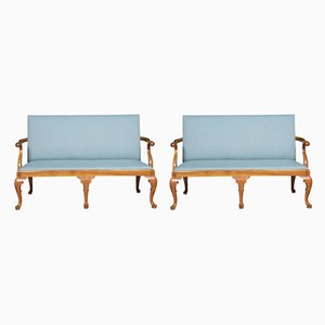 Antique Queen Anne Style Walnut Settees, Set of 2