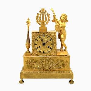 Antike französische Empire Pendeluhr aus vergoldeter Bronze