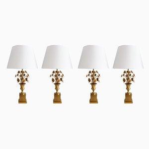 Französische Tischlampen aus Messing mit Blumenfuß & Kristalltropfen, 1970er, 2er Set