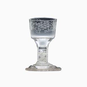Georgianisches Kelchglas mit Gravur, 1760er