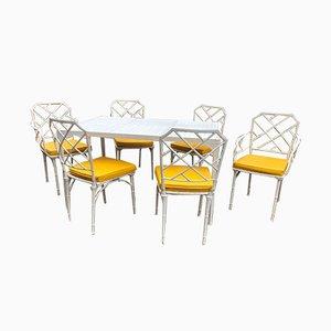 Mesa de jardín y sillas de aluminio de Brown Jordan, años 60