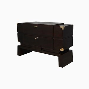 Mid-Century Italian Brass and Walnut Chests of Drawers, 1950s