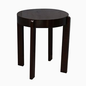 Round Mid-Century Italian Stained Walnut Side Table, 1940s
