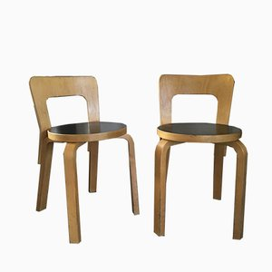 Birch and Linoleum Model No. 65 Dining Chairs by Alvar Aalto for Artek, 1960s, Set of 2