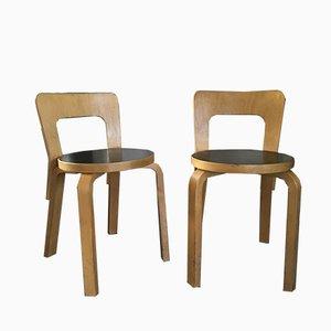 Sillas de comedor modelo nº 65 de abedul y linóleo de Alvar Aalto para Artek, años 60. Juego de 2