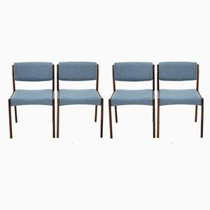 Dänische Esszimmerstühle mit Stoffsitz & Gestell aus Palisander, 1960er, 4er Set