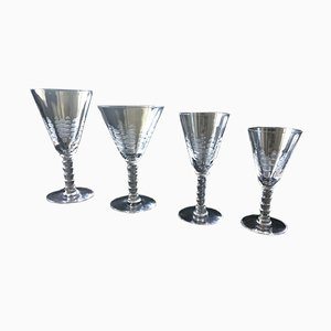 Art Deco French Crystal Tableware Set, 1920s, Set of 4